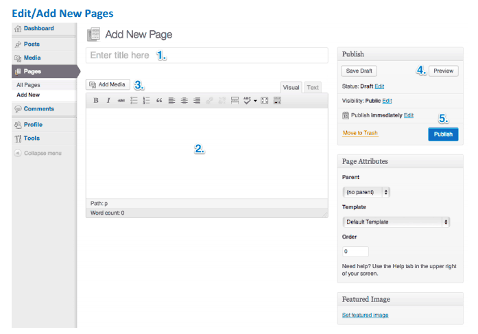 Add or edit a page in WordPress