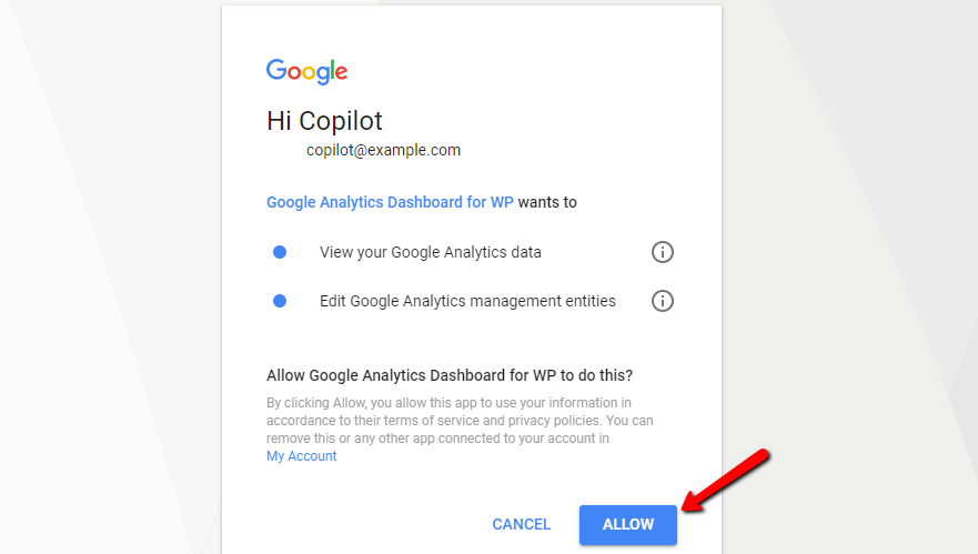 allow access to google analytics
