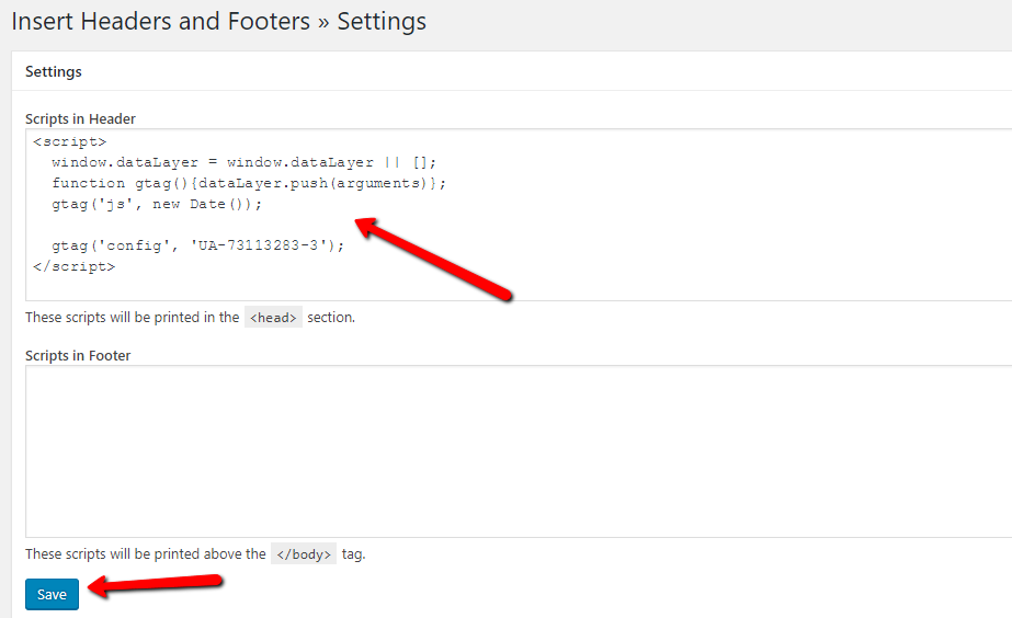 how to add google analytics to wordpress wth insert headers and footers