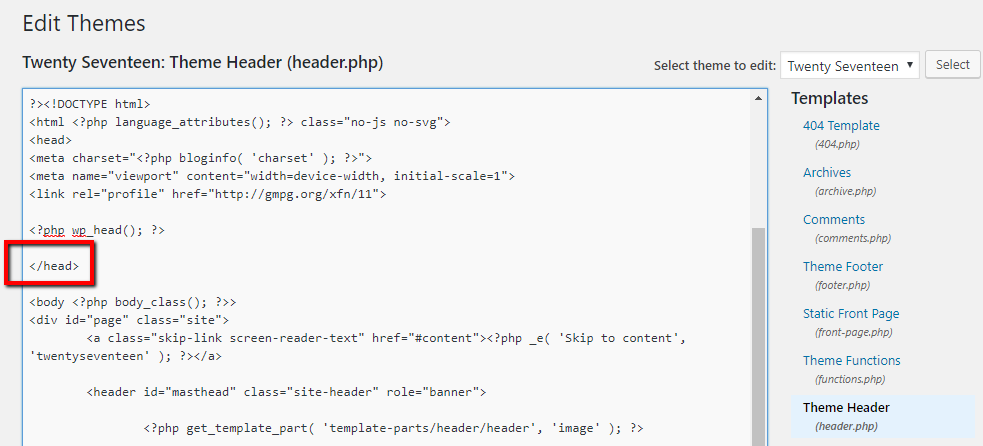 how to edit header.php