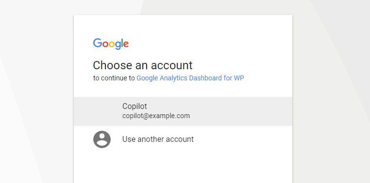 choose google analytics account