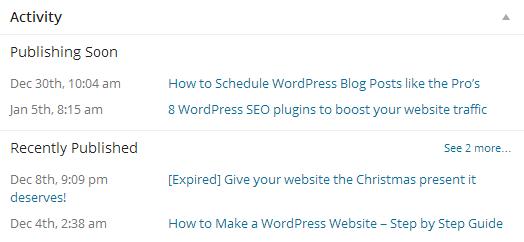 Blog post activity widget