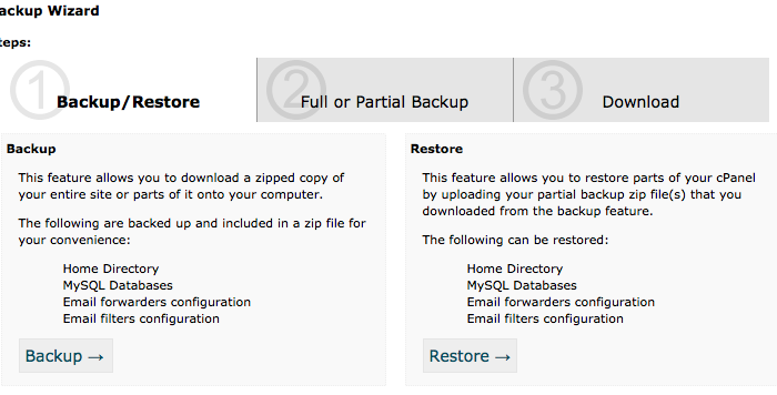 How to take a website backup using cPanel