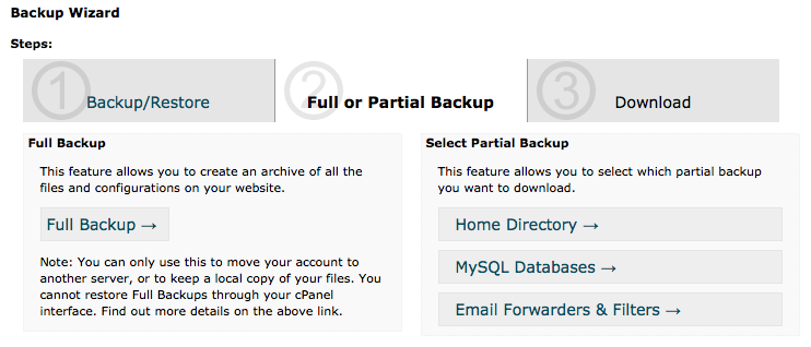 cPanel Backup Wizard - Backup Step 1