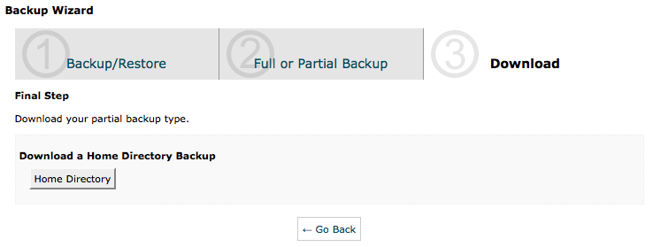 cPanel Backup Wizard - Backup Step 2 - Home Directory Backup
