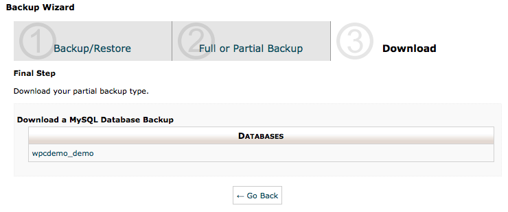 cPanel Backup Wizard - Backup Step 3 - Database Backup