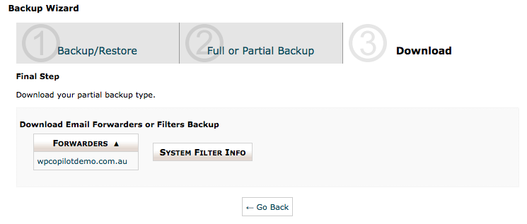 cPanel Backup Wizard - Backup Step 4 - Forwarder Backup