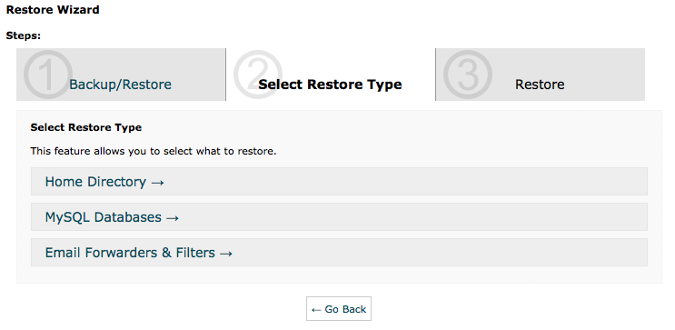 cPanel Backup Wizard - Restore Step 1