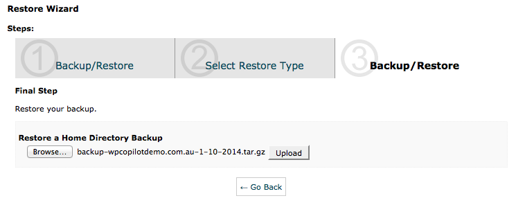 cPanel Backup Wizard - Restore Step 2 - Home Directory Restore