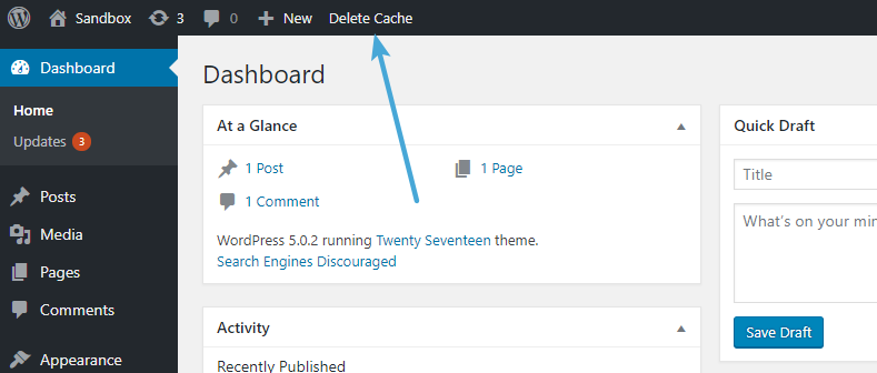 Clear WordPress cache in WP Super Cache