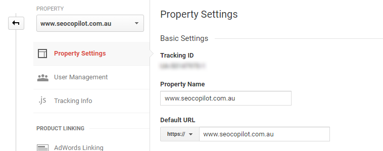 Update Google Analytics default url to HTTPS