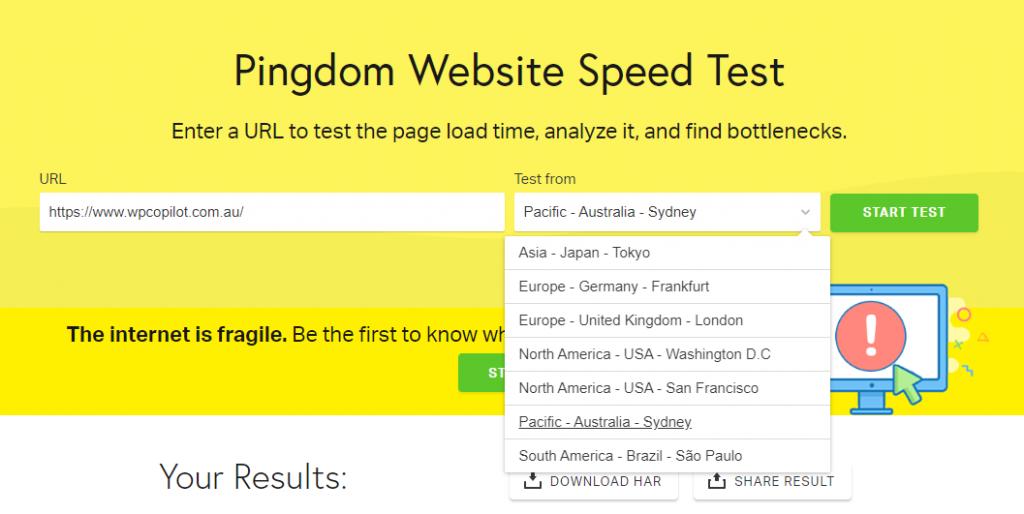 wordpress speed test pingdom