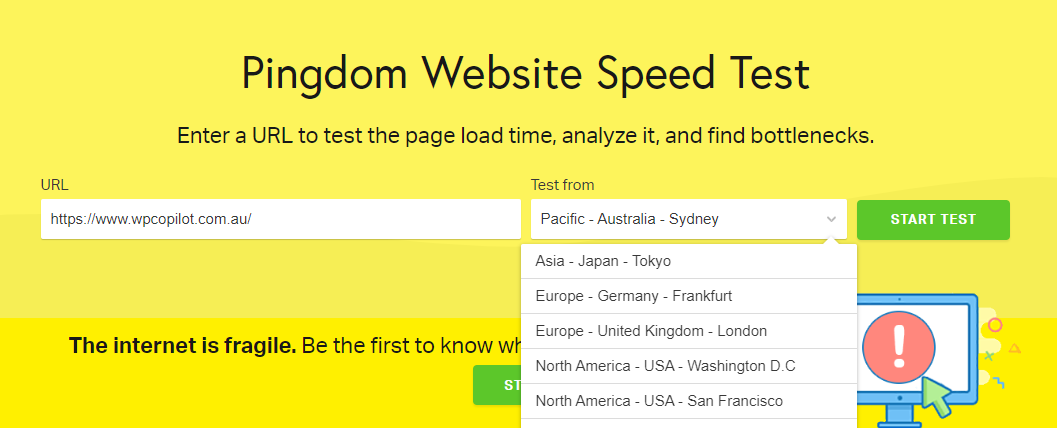 wordpress speed test pingdom